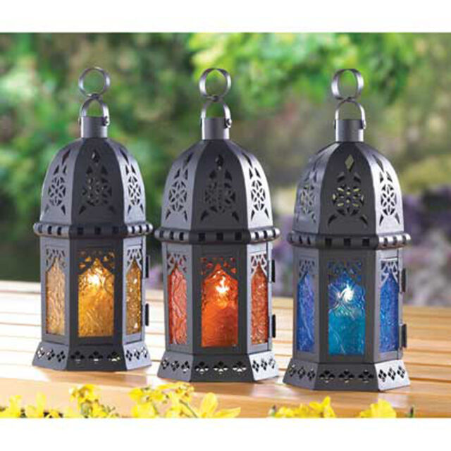 Hanging Tabletop Moroccan Style Black Metal CANDLE LANTERN Color Pressed Glass
