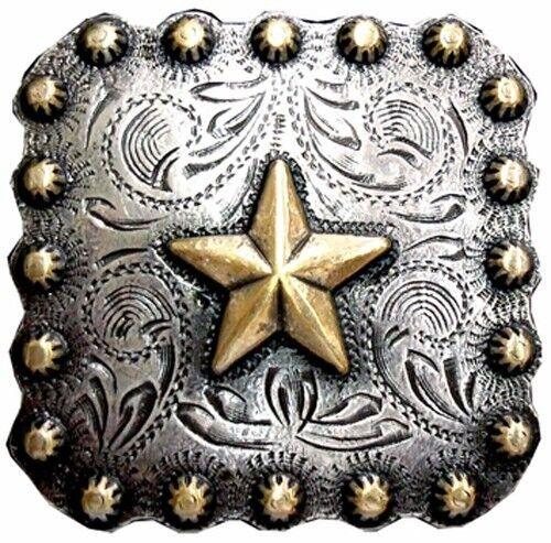 """Western Decor Gold Star  1-3/8"""" Square Concho"""