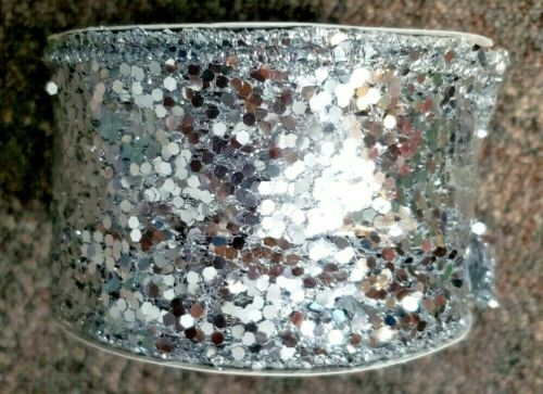 "New Jaclyn Smith Christmas Ribbon 2.5/"" x 18/' Midnight Clear Silver Metallic"