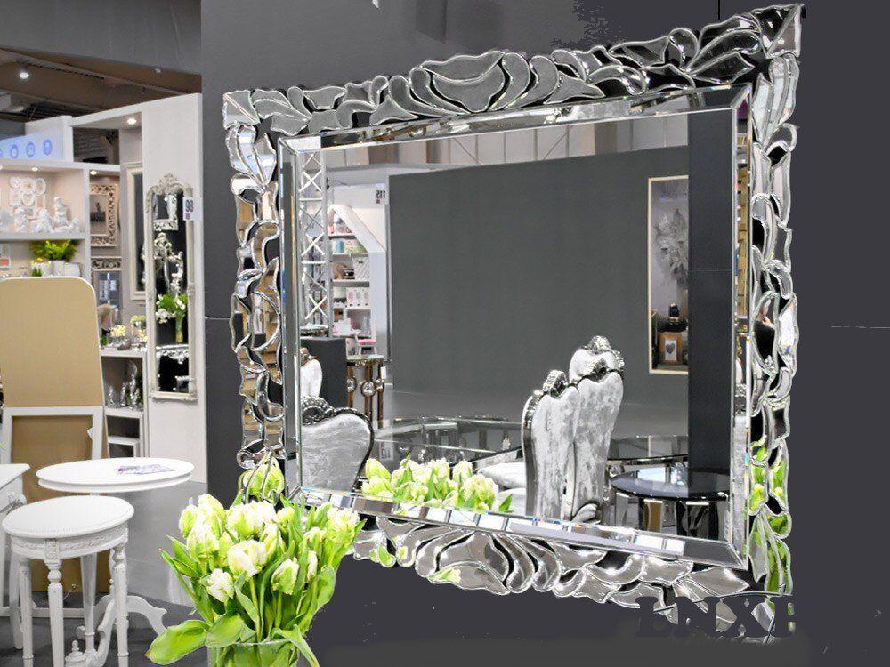 XXL Designer Moderne Wandspiegel Kristallspiegel Glasspiegel 100x80 Exklusiv WOE