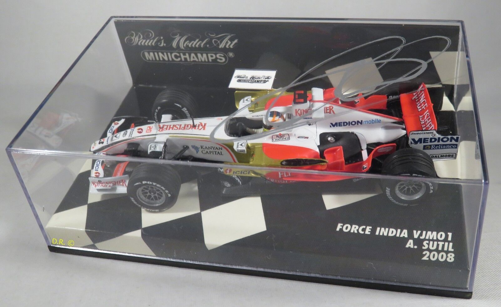 FORCE INDIA FERRARI VJM01 Adrian Sutil F1 F1 F1 2008 signed box MINICHAMPS 1 43 9932e2