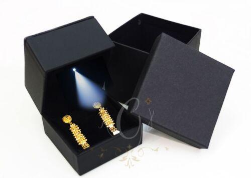 Black  Leatherette leather like with LED light  earring box USA Seller