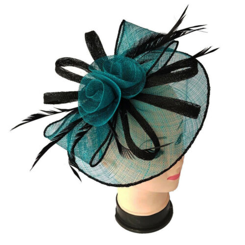 Two Tone Flower Feather Fascinator With Detachable Headband And Clip