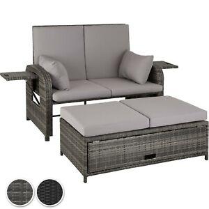 Détails sur Salon de jardin mobilier canapé lit 2 personnes en résine  tressée et aluminium