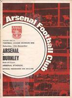 Arsenal v Burnley - Div 1 - 1969 - Football Programme
