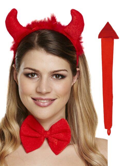 Red Furry Devil Set Horns Bowtie Tail Headband Fancy Dress Halloween Party