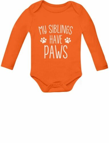 My Siblings Have Paws Funny Infant Baby Long Sleeve Bodysuit