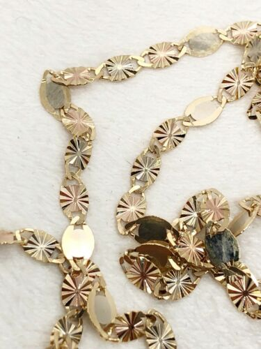 Tri Color 14k Solid Gold  3MM Valentino with Star chain Necklace 24 inches