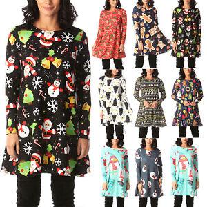 Plus-Size-Womens-Christmas-Mini-Swing-Dress-Xmas-Party-Long-Tops-T-Shirt-AU-5XL