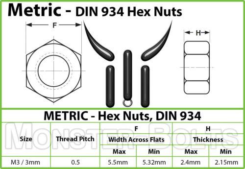 Class 8 Steel w// Plain Finish  DIN 934 M3-0.50  Metric Hex Nuts Coarse Thread