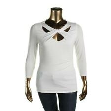 INC 8597 Womens White Stretch Cut-Out 3/4 Sleeves Casual Top Shirt XL BHFO