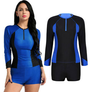 Women-039-s-Rashguard-Two-Piece-Long-Sleeve-Top-amp-Shorts-Surfing-Swimsuit-Swimwear