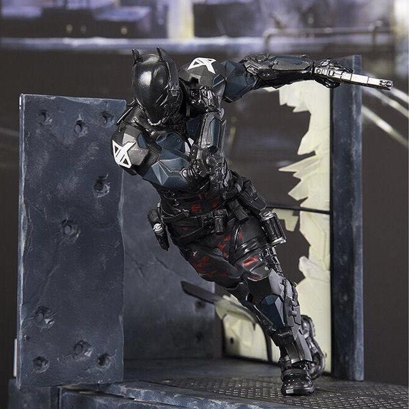 8'' Arkham Knight Play Arts PA Kai Batman Serie Statue Figure Collect with Scene