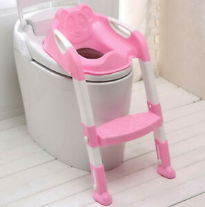 Teddie-KIDS-BABY-CHILD-TODDLER-POTTY-LOO-TRAINING-TOILET-SEAT-amp-STEP-LADDER-PINK