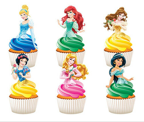 12 STAND UP DISNEY PRINCESS EDIBLE CUPCAKES CUP CAKE IMAGES DECORATION TOPPERS