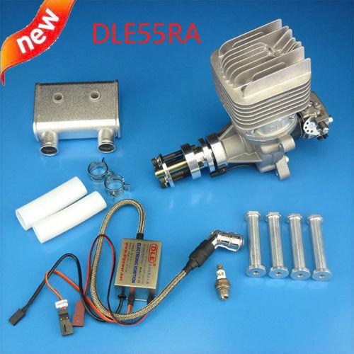 DLE55RA 55CC dos tiempos Gas motor con silenciador de escape trasero y contacto para radio control Avión