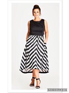 City Chic Women S Plus Size Chevron Print Satin Maxi Dress S 16w