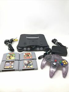 Original Nintendo 64 Console Bundle N64 w/ All Cables & 4 games TESTED NUS-001