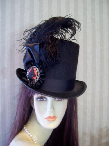 Steampunk Hats | Top Hats | Bowler    Kentucky Derby Top Hat BLACK Steampunk Hat Equestrian Victorian Ascot Hat  $49.99 AT vintagedancer.com