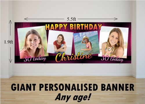 Personalised GIANT Large Happy Birthday Banner 18th 21st 30th 40th 50th 60th N22