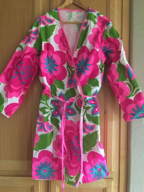 Vintage Paper Hippie Salon Smock Spa Robe Mexico Hair Bright Pink