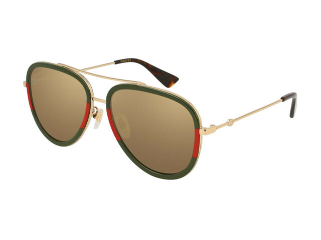 512c5a84198 Gucci Gold Aviator Ladies Sunglasses Gg0062s 010 57 for sale online ...