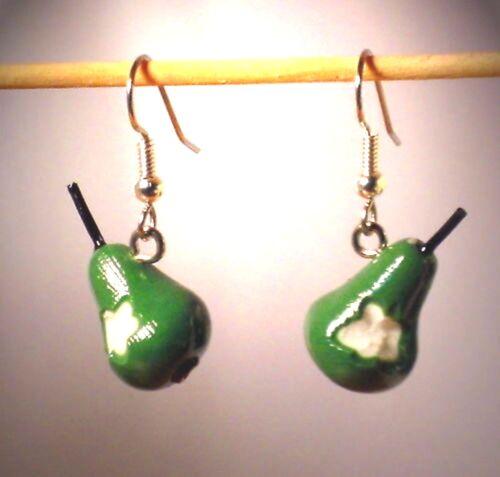 Ohrringe Birne Frucht Obst Damen Ohrschmuck Modeschmuck Sculpey Grün Edelstahl