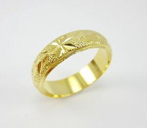 Nice diamond cut wedding band 6mm 22k 24k gold gp thai ring size image is loading nice diamond cut wedding band 6mm 22k 24k junglespirit Images