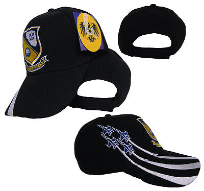 Blue Angles US Navy USN Embroidered Black Cap Hat RUF