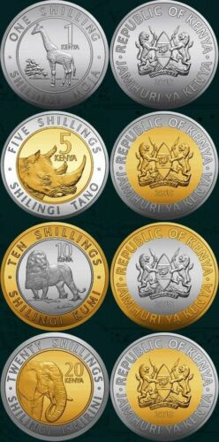 KENYA: New Full set of 4 coins 1+5+10+20 shillings ; includes all mint 2018