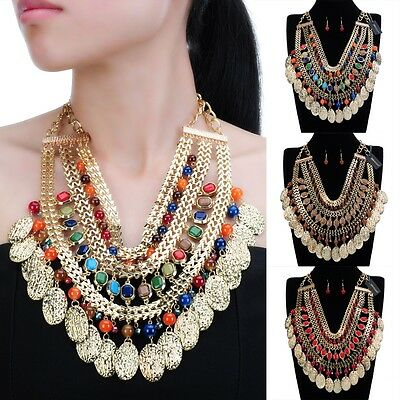 Fashion Jewelry Enthic Boho Choker Statement Bib Pendant Necklace Earrings Set