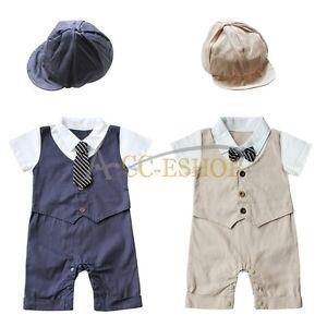 Image is loading Newborn-Baby-Boy-Suit-Formal-Tuxedo-Bodysuit-Romper- d3baefcd7