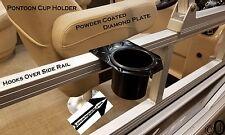 Black Powder Coated Diamond Plate cup holder fits 1 1/4 inch pontoon boat rails