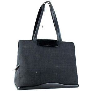 Image is loading Authentic-PRADA-Milano-Black-Canvas-amp-Leather-Tote- 658c4eaaac5d3