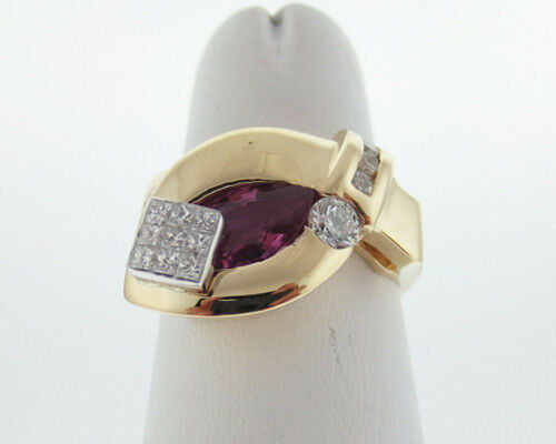 Natural Pink Sapphire Diamonds Solid 14k Two-Tone gold Ring Fine Jewelry