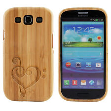 Samsung Galaxy S3 III Case Bamboo Engraved Heart Music Cover Natural Hard Wood