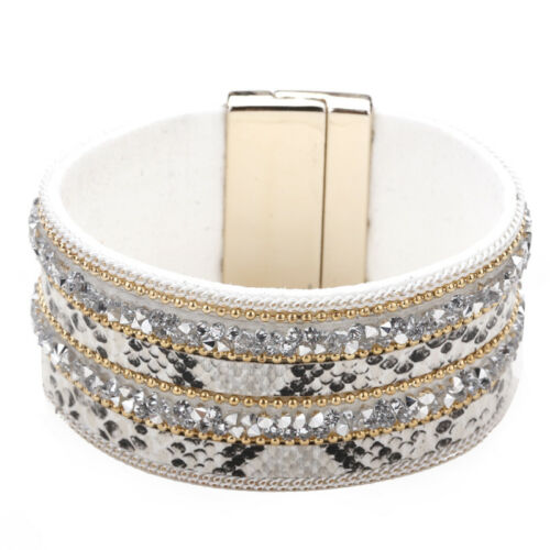 Vintage Femme bohème Large en Cuir Strass Cristal Perles Magnétique Bracelet