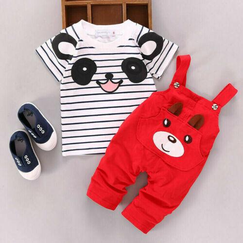 2PCS Newborn Baby Boy Girls T-shirt Tops+Pants Summer Cute Outfits Clothes Set