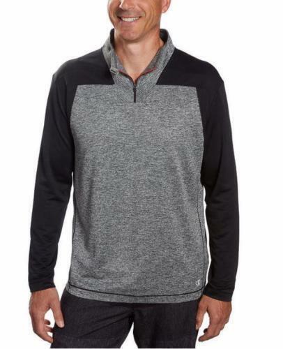 Champion Elite Men's Double Dry Active 1//4 Zip Charcoal Pullover Jacket Sweater