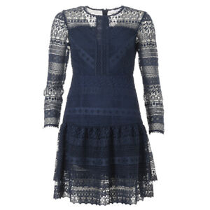 iBLUES-MAX-MARA-Dress-Navy-Frill-Lace-BG