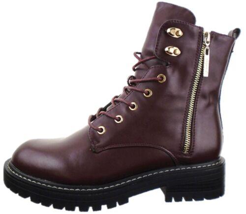 Ladies High Street Military Grunge Burgundy Biker Boot Zip Shoe Sizes UK 3-8