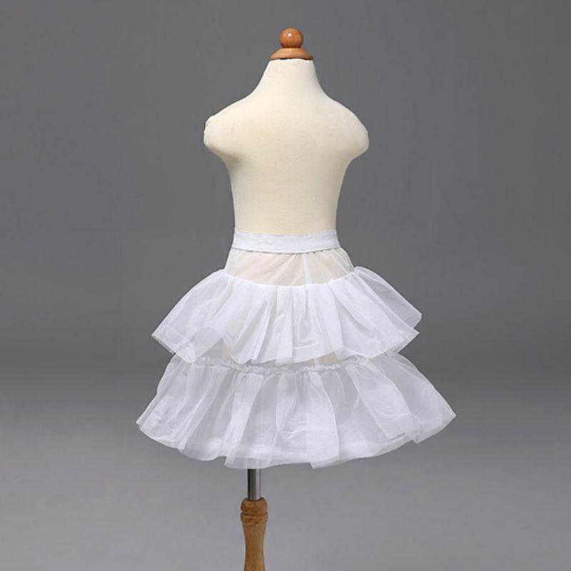 Flower Girls Petticoat Skirt Single Ring Double Layer Ruffles Wedding Underskirt