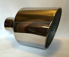 "POLISHED STAINLESS DODGE WELD ON DIESEL EXHAUST TIP 4"" IN 12"" OUT 18"" L"