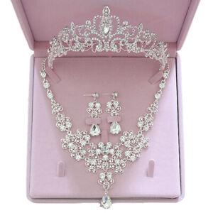 Wedding-Tiara-Necklace-Set-Heart-Shape-Bridal-Crystal-Rhinestone-Jewelry-Set