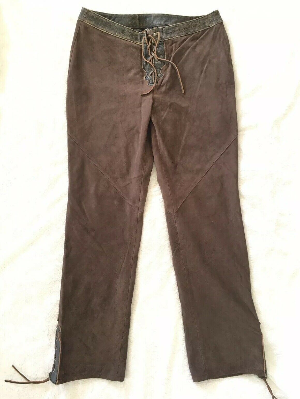 HARLEY DAVIDSON Corral Leather Suede Pants damen 12   40 EUC Western Lace Up
