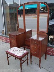 Edwardian Antique Fine Walnut Triple Mirror Dresser