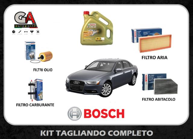 Kit tagliando Audi A4 B8 8k 2.0 tdi filtri Bosch 4 lt olio Castrol edge fst 5w30