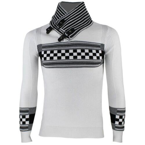 Maglione uomo slim fit pullover elasticizzato maglia collo alto maglioncino RDV