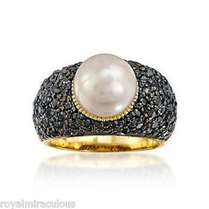Sterling-Silver-White-Button-Freshwater-Pearl-Ring-Black-CZ-Pave-Shank-SIZES-5-9