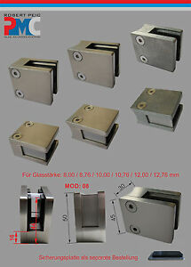 Glashalter-Glasklemme-Glass-Clamp-Edelstahl-V2A-Edelstahlfinisch-Zink-roh-MOD-08